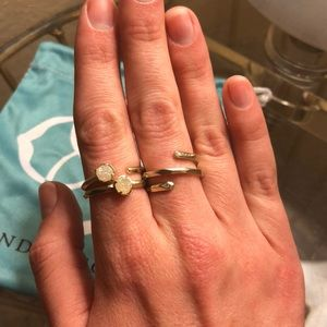 Kendra Scott gold Warren ring set